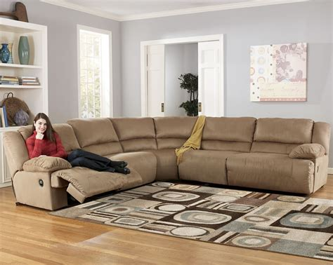 microfiber reclining sectional by furniture store