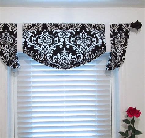 Black Valance Curtains Tie Up Lined Valance Black And White Damask Custom Sizing