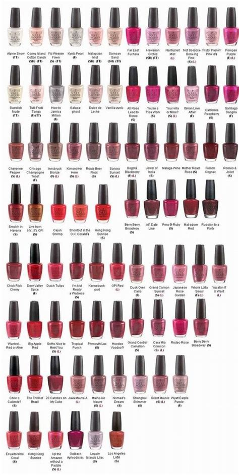 Color Chart For Opi Nail Polish In Late 2013   opi nail polish most popular colors chart opi nail