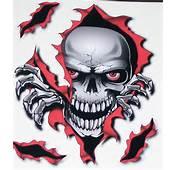 Rip Threw Skull Red/Black 8 X 9 Full Color HOOD Tailgate