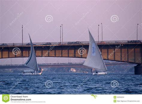 nile sailboats sailboats and bridges on the river nile editorial stock