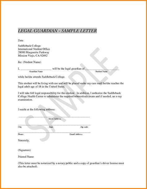 naming a guardian for your child template 6 guardianship template ledger paper