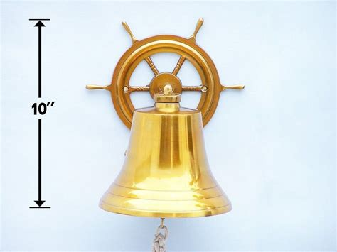 buy brass plated hanging ship wheel bell 10 inch