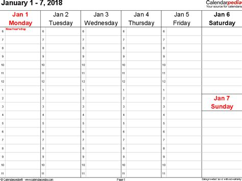 weekly calendar 2018 for excel 12 free printable templates