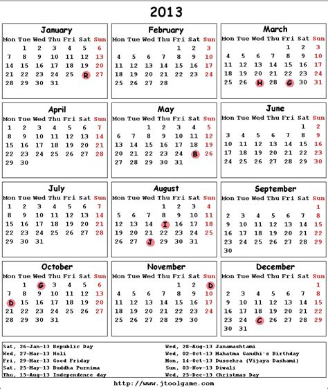 2013 calendar with hindu holidays calendar template 2016