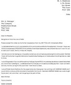 Immediate Resignation Letter Exles by Resignation Letter With Immediate Effect Icover Org Uk