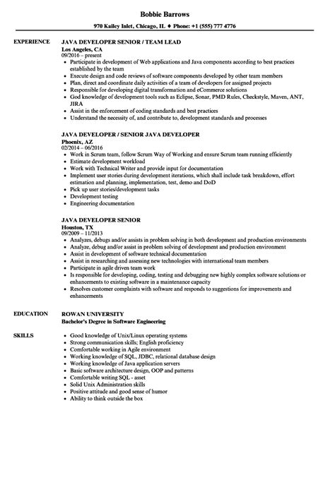senior java developer resume template java developer senior resume sles velvet