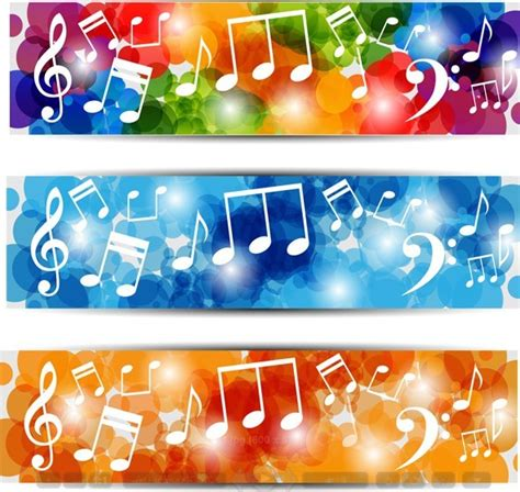 printable music banner free bright music banners with musical notes backgrounds