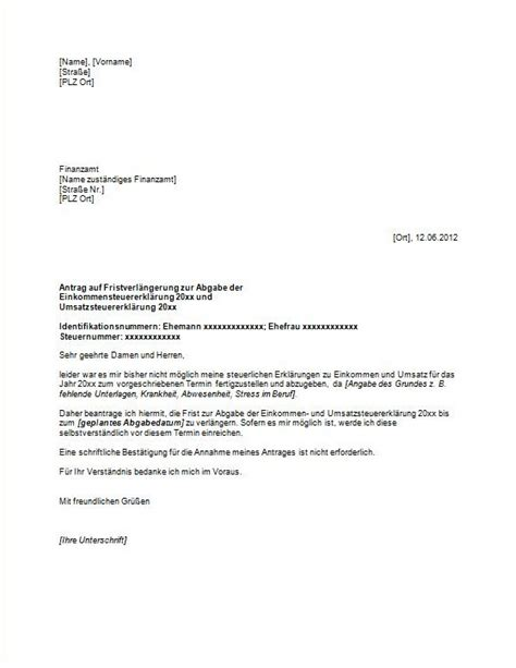 Antrag Verlustrücktrag Vorlage Antrag Auf Fristverl 228 Gerung F 252 R Das Finanzamt Vorlagen Und Muster Vom Gr 252 Nderlexikon