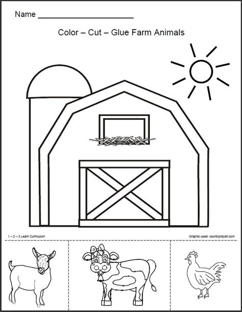 barn template 1 2 3 learn curriculum barn animals worksheet free