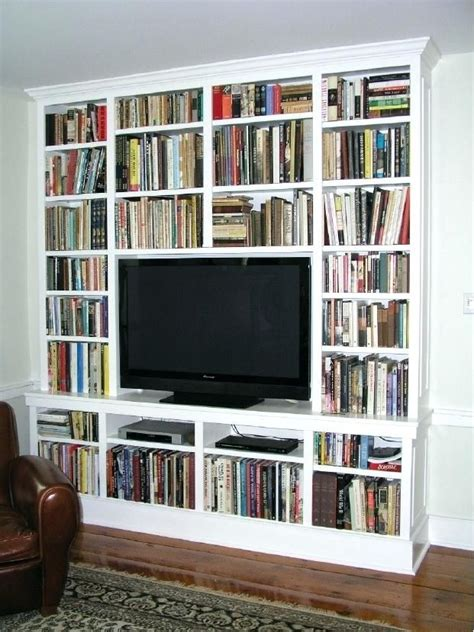 built  bookcases  tv  flat screen surrounded