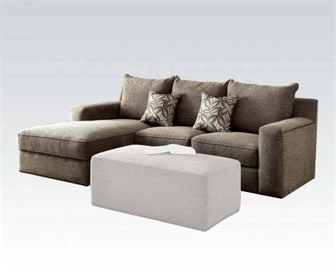 Acme Furniture Ushury Gray Sectional Sofa With Two Pillows Sectional Sofa Pillows