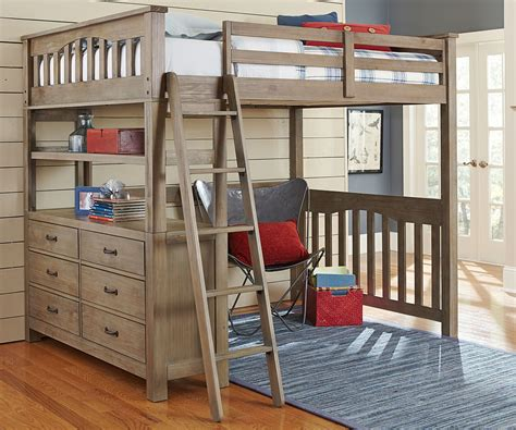 size loft bed with desk and storage brown wood loft bed size design with drawers storage