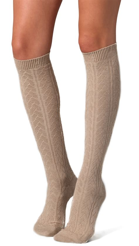 knit knee high socks lyst falke striggings cable knit knee high socks grey