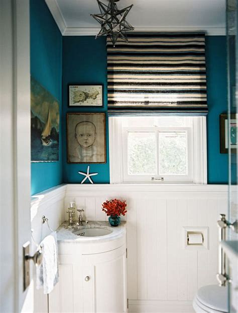 white and teal bathroom from navy to aqua summer decor in shades of blue