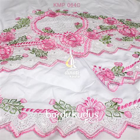 Jilbab Segiempat Bordir Motif Kerancang Semut mukena bordir cantik polino savoira pink bordir kudus