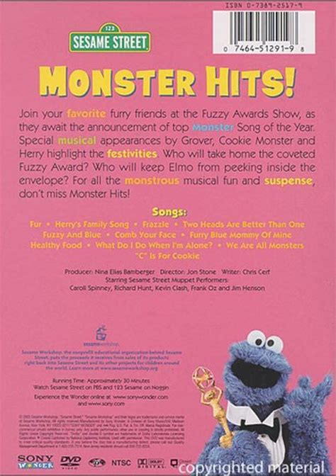 Sesame Street: Monster Hits! (DVD 2003)   DVD Empire Sesame Street Monster Hits