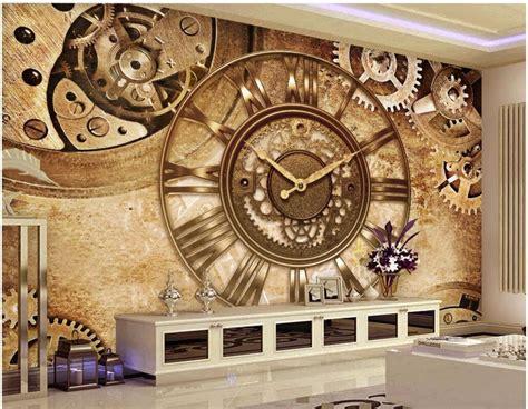 custom photo mural  wallpaper retro gear clock