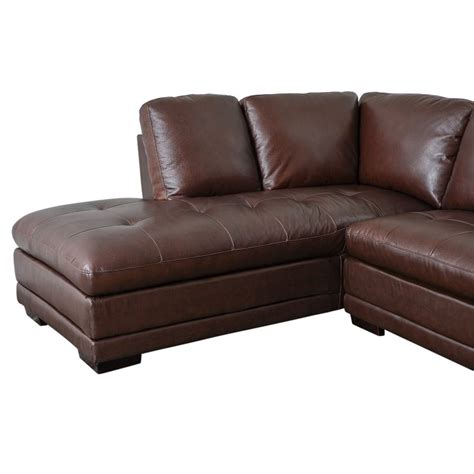 abbyson leather sectional abbyson living parker leather left facing sectional in