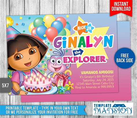 dora the explorer templates for invitations dora the explorer birthday invitation 3 by