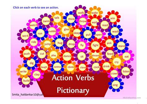 pattern action language qualitystage action verb pictionary worksheet free esl projectable