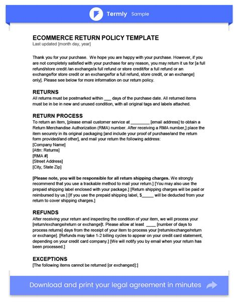 return policy template exles free to download termly