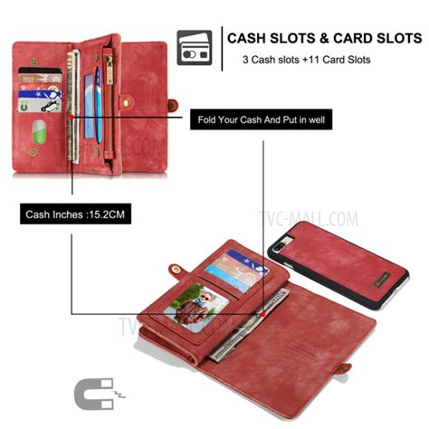 caseme for iphone 7 plus 14 card slots 2 in 1 zipper wallet split leather cover tvc mall