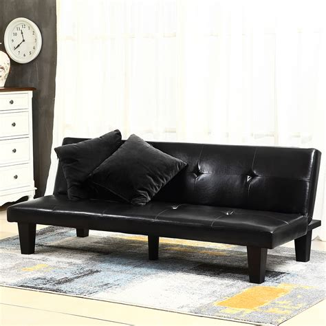 futon convertible black leather faux fold futon lounge convertible sofa