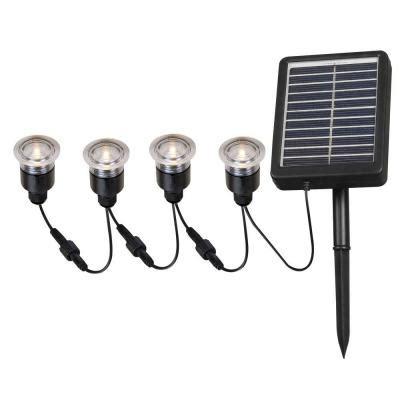 solar lights home depot kenroy home 2 in outdoor solar string black deck light 4 pack hdp12011 the home depot