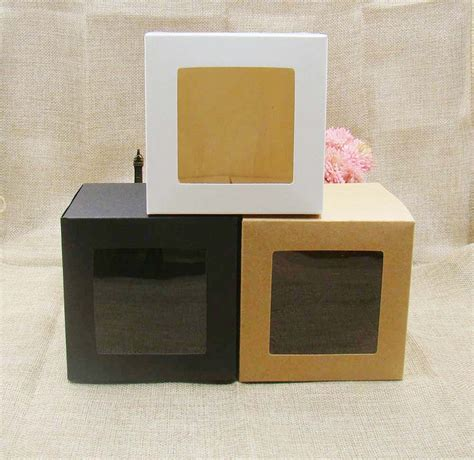 Paper Box Souvenir Uk 9 9 11 7 7 7cm 3color white black kraft stock paper box with clear pvc window favors display gifts