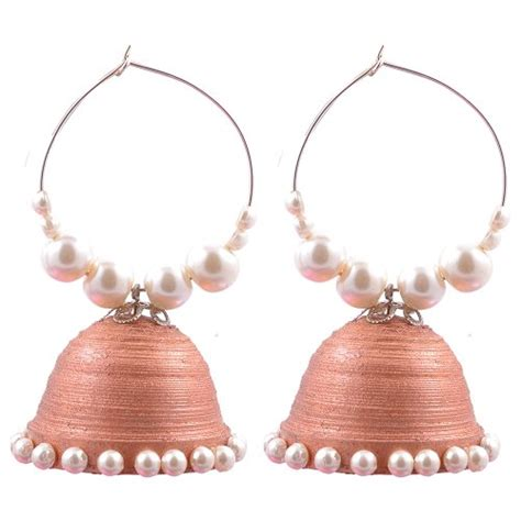 Jhumkas With Paper - pushkala big designer paper jhumka with hoop for