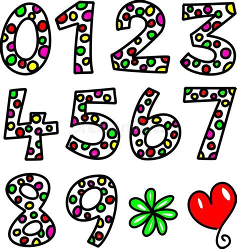 doodle numbers set of spotty doodle numbers stock illustration image