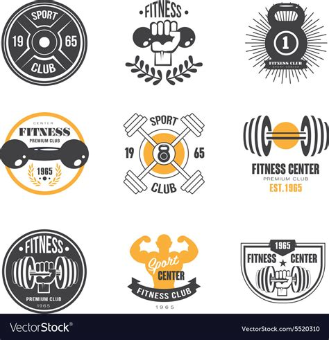 Sport And Fitness Logo Templates Gym Logotypes Vector Image Fitness Logo Design Templates