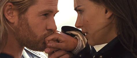 thor film kiss not much more romantic than a hand kiss chris hemsworth