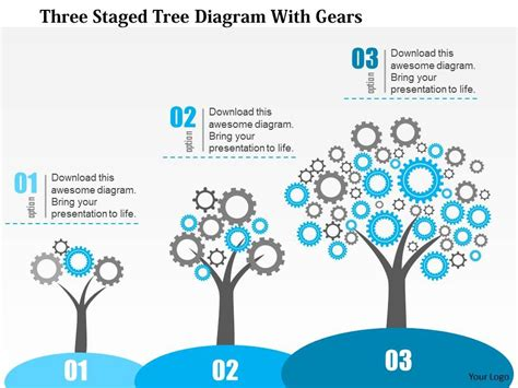 0115 Three Staged Tree Diagram With Gears Powerpoint Template Powerpoint Presentation Slides Tree Diagram Powerpoint
