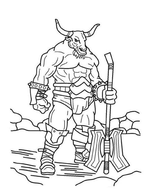 Pin Minotaur Coloring Pages Printable Sheets On Pinterest Minotaur Coloring Pages
