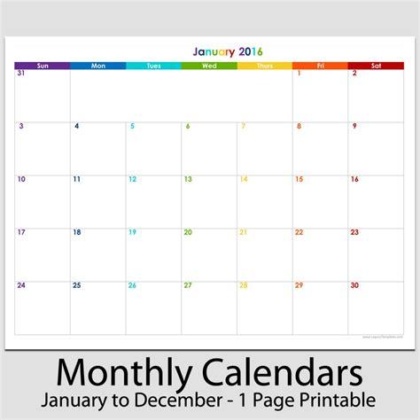 1 month calendar template 2016 12 month landscape calendar 8 1 2 quot x 11 quot legacy