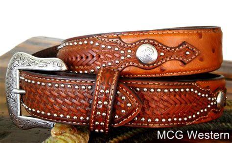 nocona western mens belt leather ostrich overlay