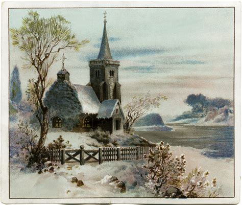 Small Victorian Homes Country Church Scene Free Christmas Graphic Old Design