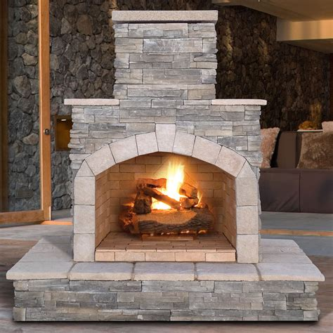 outdoor fireplace calflame natural stone propane gas outdoor fireplace