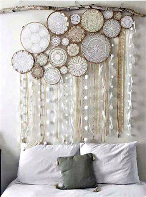 doilies  wooden embroidery hoops hanging   branch