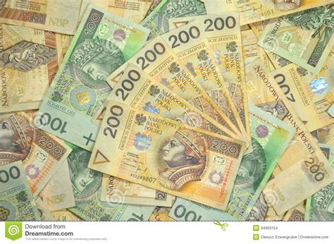 currency converter zloty polish one and two hundred zloty banknotes stock images