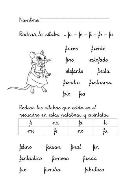 lecturas letra f trabajar con la letra f
