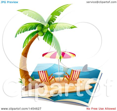 royalty free rf shark clipart illustrations vector clipart graphic of a story book with a tropical beach and
