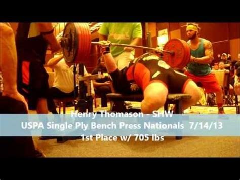 single ply bench press henry thomason shw w 705 uspa single ply bench press