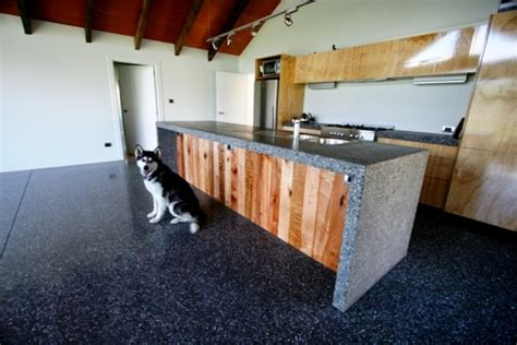 Black Butcher Block Kitchen Island High Quality Ground And Polished Concrete Surfaces Stone