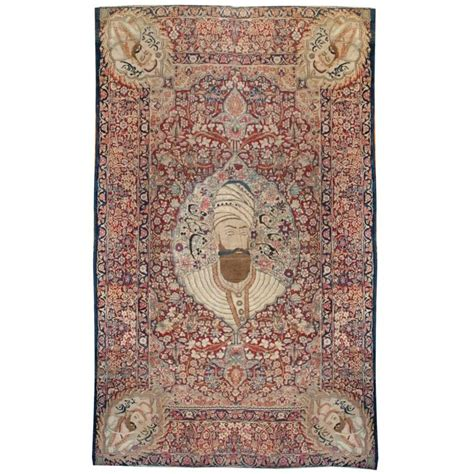 pictorial rugs notable 19th century pictorial kirman rug for sale at 1stdibs