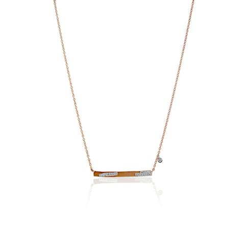 Meira T 14k Rose Gold .09ctw Diamond Bar Necklace