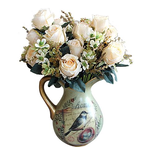 decorative flowers beautiful large earl rose bouquet artificial flowers hotel