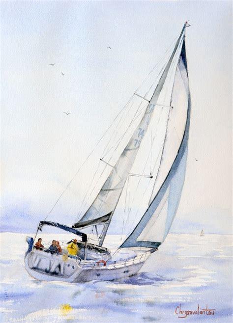 sailing boat watercolour watercolor paintings for sale chrysovalantou mavroudis